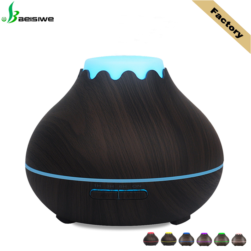 400ml wooden <strong>grain</strong> 7 led lighting ultrasonic humidifier aroma therapy diffuser for home office
