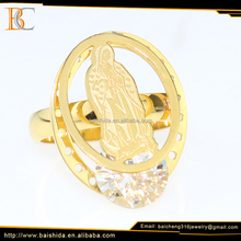 Elegant 18K Gold Plated Virgin Mary Stainless Steel Zircon Ring Jewelry For Women