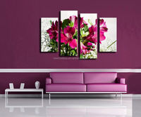 2015 Hot Sell 4 panel Red Flower Large HD Decorative Art Print Painting On Canvas For Living Room Wall Paintings Pictures