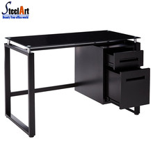 Black tempered glass computer desk with drawers
