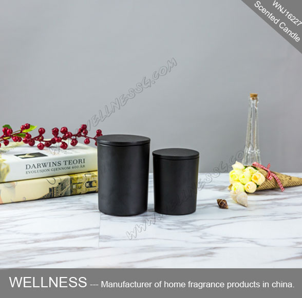 decorative black candle jars scented candle with wooden lids