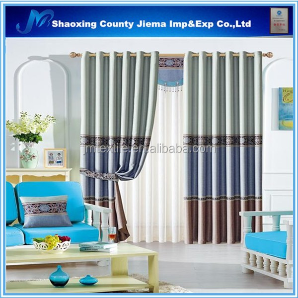 CUR BLACKOUT019 Bedroom Curtain Jacquard Fabric Curtain Drapery Sun Out Curtain