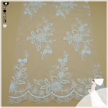 White/Ivory Embroidered Floral Tulle Lace Fabric decorated with beads and sequins for bridal wedding clothing/curtains-DH-BF669