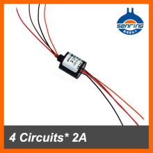 Mini/small slip ring 12.5mm without flange 4 wires/circuits contact 2A for capsule slip ring