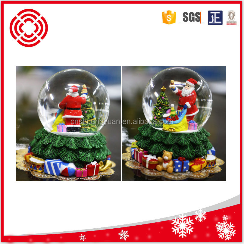 promotional santa and tree glass snow globe ,christmas gift