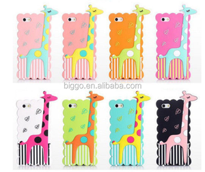 2016 3D Cute cartoon Animals Korea Polka Dot giraffe soft Silicone cell phones Back Case For iphone 4 4g 4s/5 5g 5s 6