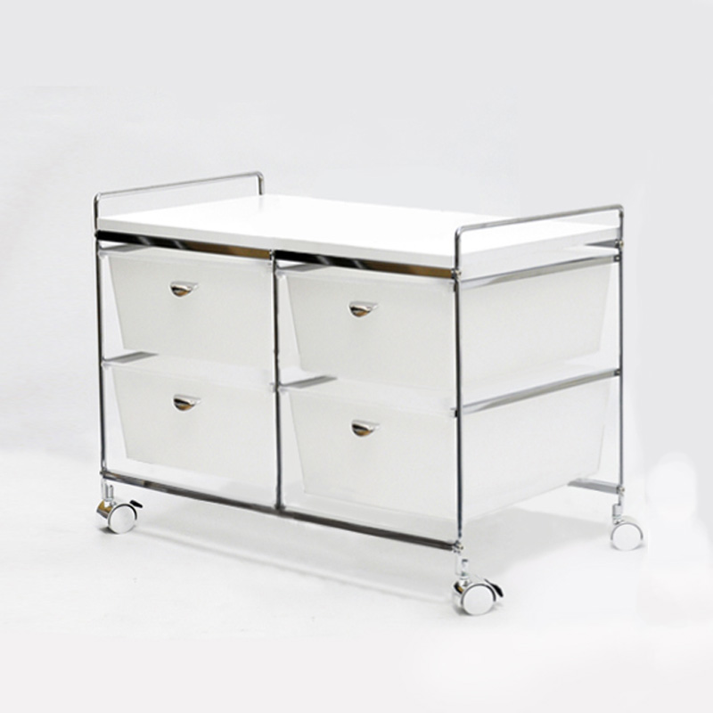 Double Two Tier White Drawers Trolley Cart for Home