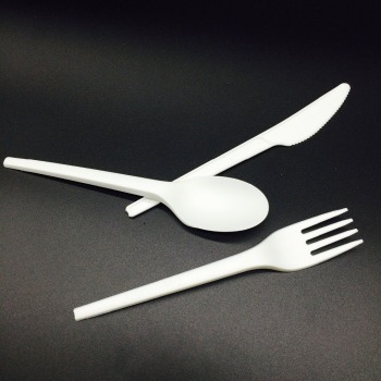 BPI certificated 100% biodegradable and compostable tableware PLA knife fork spoon