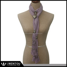 wholesale pendant scarf with jewels scarf with murano glass pendant