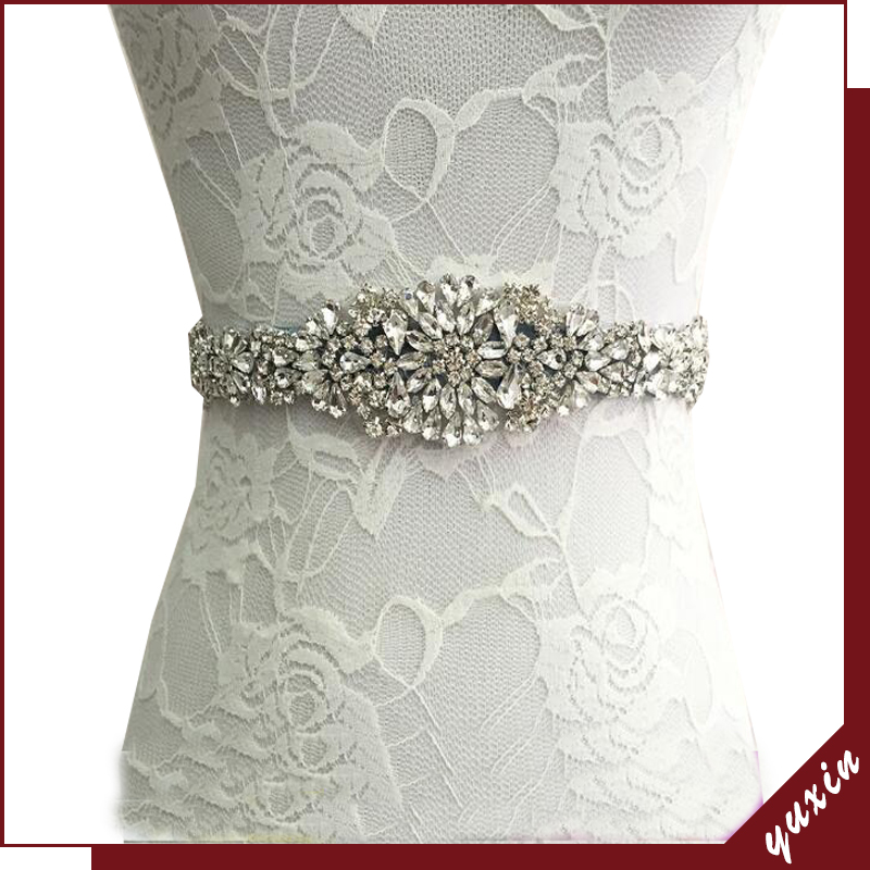 YXBB51 New Glaring Bridal Belts wedding belt With Diamond Sashes Rhinestone Bridal Belts Bead Sash