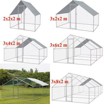 chicken coop metal super large walk-in cage poultry chicken house run 5 sizes