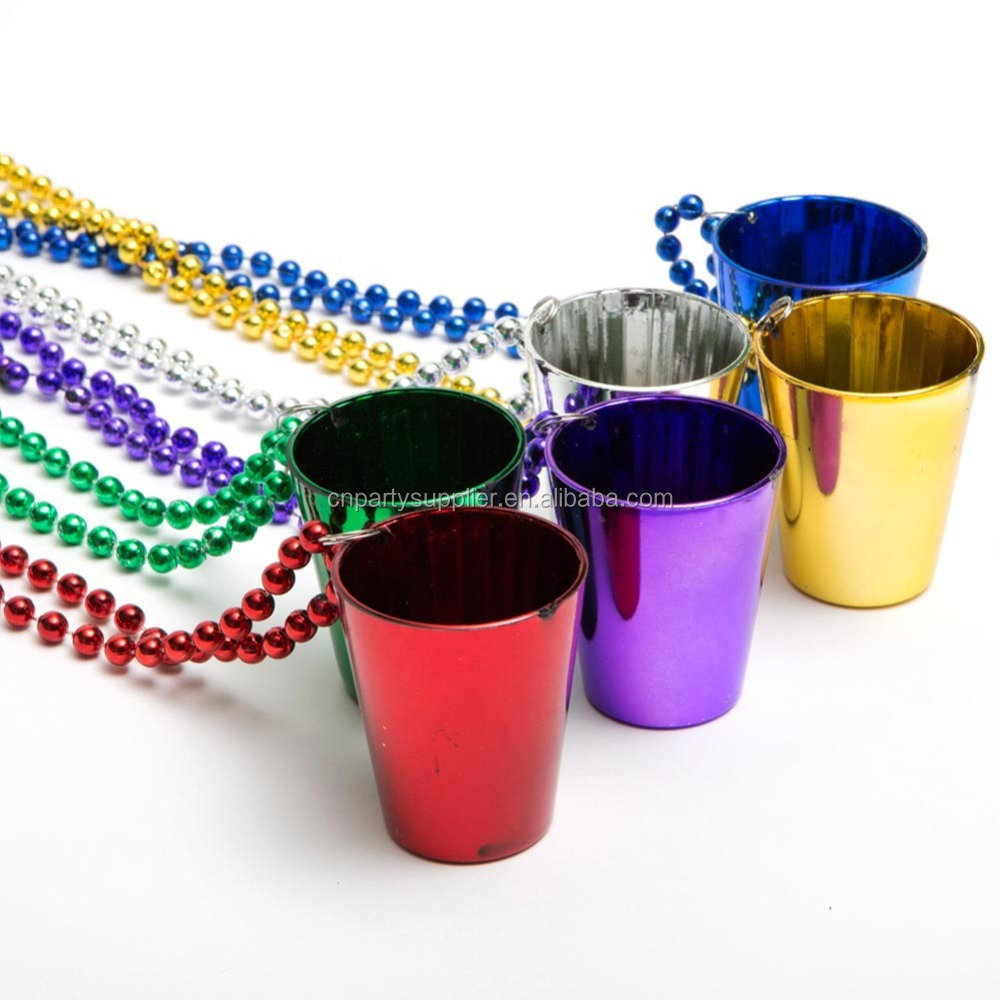 Plastic Shot Glass Beaded Necklace