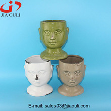 Flower pot glazed Human Head face Ceramic Garden planter pot
