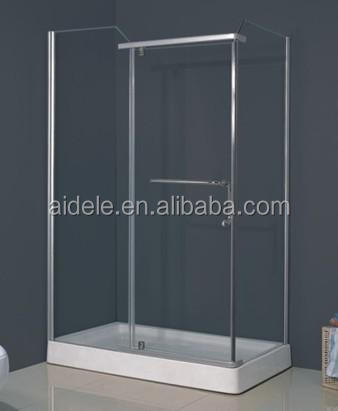 simple cheap shower room/square ABS shower tray shower cabin with curved glass