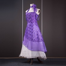 new design long mysterious purple birthday dresses party evening dress for girls