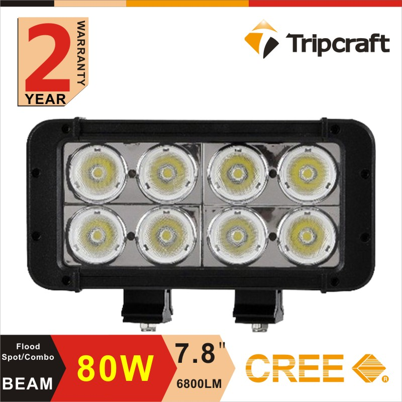 "Hot selling in Europe and America 80w 8"" 8 inch dual row auto led light bar"