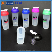600ml Shake protein water bottle, Plastic shaker bottle with metal ball ,customized protein shaker bottle with mixing ball