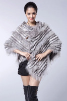 Womens Clothes Knitted Chinchilla Rabbit Fur Cape Shawl with raccoon fur trim