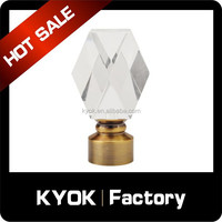 Crystal Curtain Finials, Aluminum Plate Glass Finial for Curtain Rod, Bathroom window fancy decorative