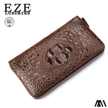 Thai skull crocodile leather wallet male leather long handbag zipper pocket bag wallet