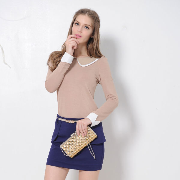 MS50100W 2014 young ladies sexy fashion high quality lady blouse,custom fashion clothes cotton women blouse