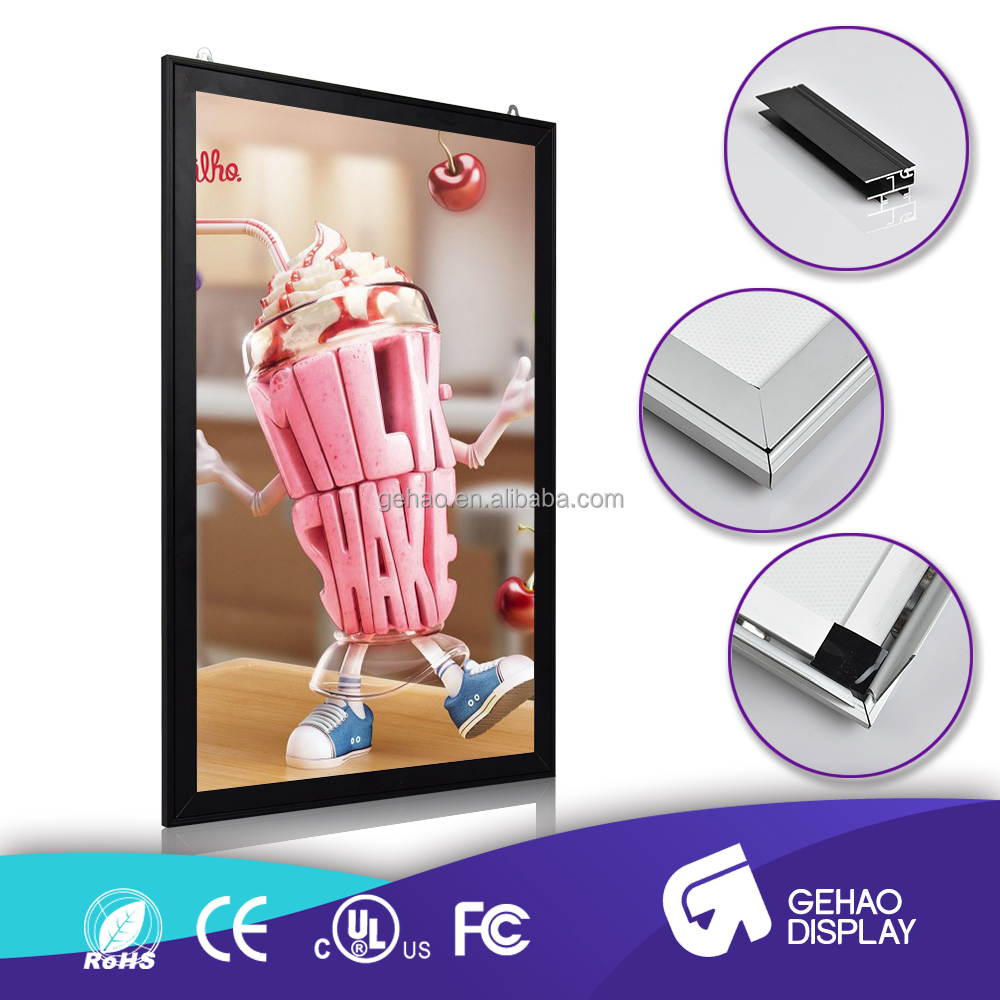 High brightness aluminium profile picture frame slim lightbox battery powered slim led light box