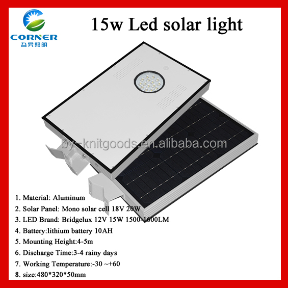 <strong>Solar</strong> and sensor Bridgelux 12V 15W 1500-1600LM manufacturers led street lighting
