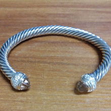 Wholeasle High Quality 925 Sterling Silver Women Wire Cable Cuff Bracelet