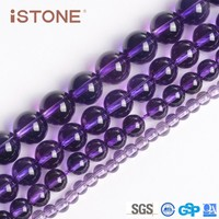 16 inch 8mm Fashion Round Natural Amethyst Stone For Bracelets