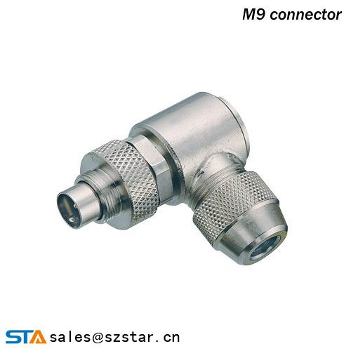 M9 2-8p angled female ip67 plug cable connector