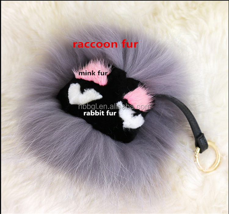 Multicolor pom pom real raccoon fur pompom rainbow fur ball