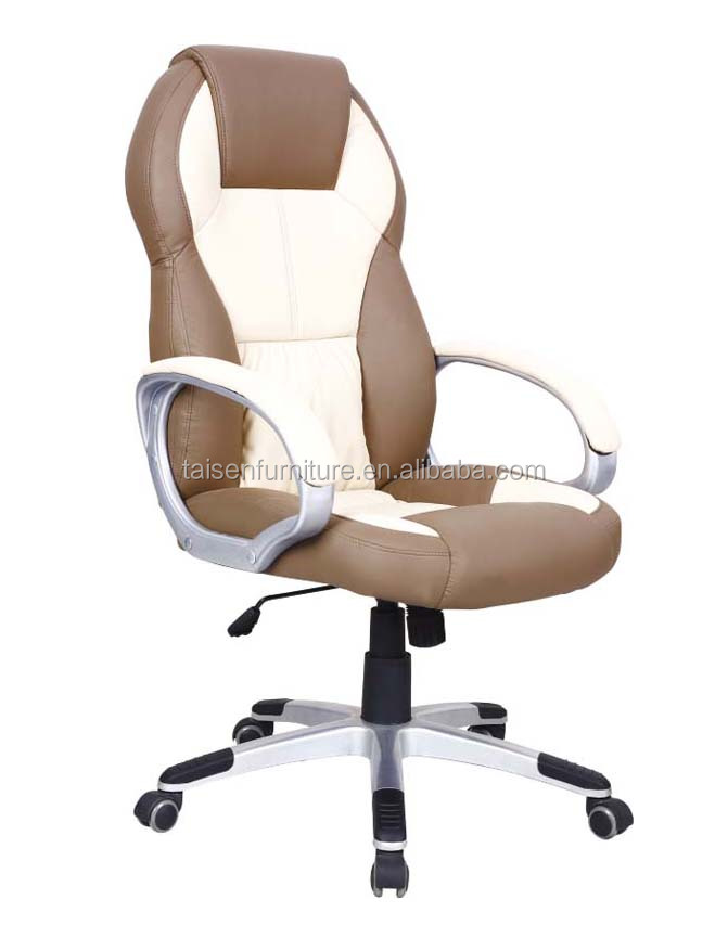 High Back Contemporary Executive White And Brown PU Leather Ribbed Office Desk Chair