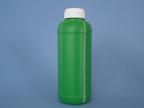 1 lt. Green Plastic Round Bottle with Wiew Line