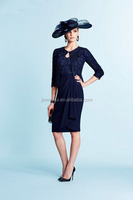 Dark navy Lace Mother of the bride Dresses Sheath Knee Length V neck Sheer Half sleeve Evening dress with Jacket