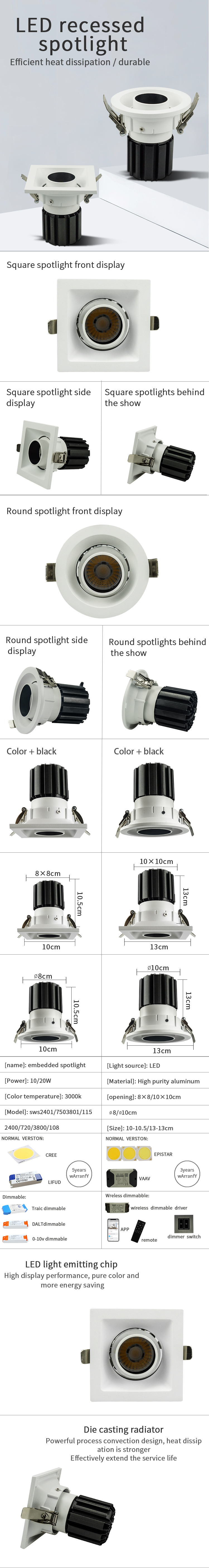 Wholesale downlight kit adjustable 10w 20w led recessed downlights