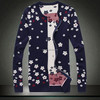 Jacquard Knitted Allover Flower Pcrew Neck Men Cardigan Sweater