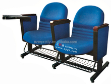 Comfortable fabric covered home cinema theater seats sofa chairs, foot fixed home theater sofa chair with steel baskets