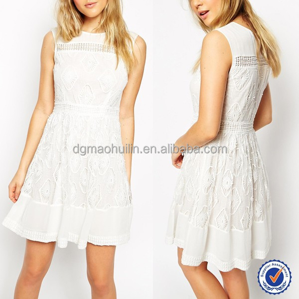 white lace knee length dress 100% cotton mini lace dress trendy lady lace dress designs girls frock designs