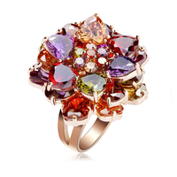 Hermosa 2015 Unique Latest Design Luxury Purple Amehtyst Garnet Peridot Xmas Multi Gems ROSE GOLD Magnetic Ring