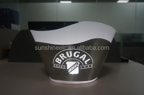 Wine promotional double layer led lighting stainless steel ice bucket with lasered logo