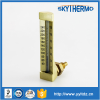 v line L shape industrial hot water fever temperature glass tube thermometer