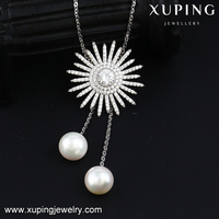 00098 XUPING fashion big flower single pearl pendant necklace