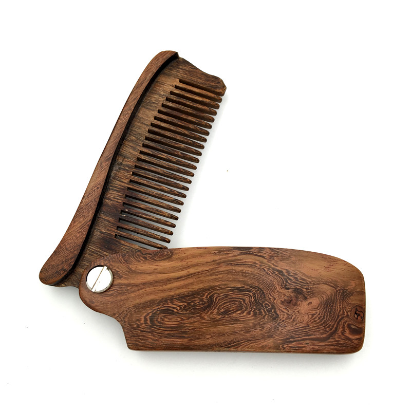 Black Sandalwood Fine Tooth Pocket Folding Knife Handle Comb All Hair Types Beard Mustache Brush