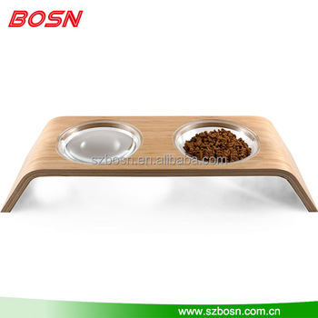 "Elevated Pet Feeder - Bent Bamboo - 4"" height - Small Cats and Dogs - Acrylic Bowls - minimal design no finger holes"