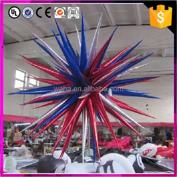 warehouse multicolor inflatable hanging light star, party or club inflatable night decoration