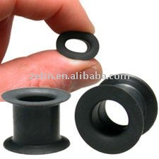 Soft Silicone Rubber Flesh Tube in Black body jewelry piercing