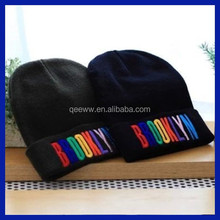 Custom Knitted Hat With Flat Embroidery logo in 100% Acrylic
