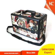 Christmas cheap aluminum makeup carry case with shoulder strap, aluminum beauty case with 2 key locks, aluminum hair beauty case