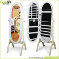 Floor standing oval mirror jewelry armoire from China Guangdong