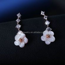 PES fashion Jewelry!Pretty 4 Round CZ Prong Liner Set White Shell Pearl Daisy Flower Drop Earrings Cuff(PES9-1080)